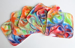 "Set of SIX 5x5 Bamboo Terry Cloths - ""carnival swirls"""