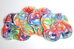 "Set of FOUR Bamboo Terry Feminine Comfort Wipes/Cloths - ""carnival swirls"""