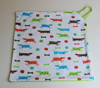 "Poppetjie - Pacifier Blanket - ""Who Let the Dogs Out?"""