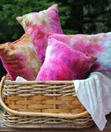 "TWO Hand Dyed Bamboo Velour ""travel size"" pillows- ""summer gold"" colorway"