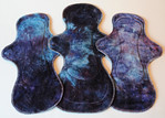 "Postpartum/Heavy Flow Set of THREE Pads- ""tanzinite"""