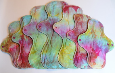 "Ultimate Heavy Flow and/or Postpartum Package - bamboo fleece - ""rainbow gem"""