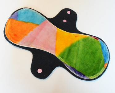 "ONE ""LONG"" Regular Flow Comfort Contour Pad - hand painted bamboo velour - ""Elsa's abstracts"""