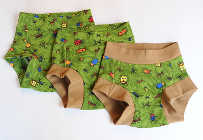 THREE Size 2/3 Children's Dundies - 'bugs' (can be used with our potty training insert)