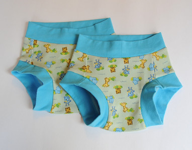 TWO Size 2/3 Children's Dundies - 'safari' (can be used with our potty training insert)