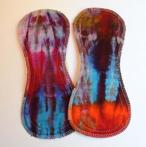 """TWO Ultimate Regular Flow Pads - bamboo fleece - """"ice dye"""""""
